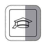White emblem graduation hat icon. Illustraction design image Stock Image