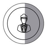White emblem guard person icon. Illustraction design image Royalty Free Stock Photography