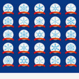 White Emblems Blue Snowflakes Red Flag Set. White snowflakes emblems on the blue background Royalty Free Stock Photography