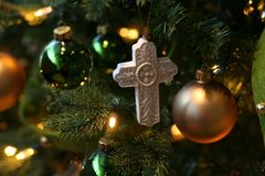 White embossed cross ornament royalty free stock photos