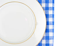 White Empry Plate on a Tablecloth with Place for Your Text Stock Images