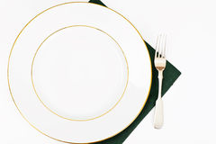White Empry Plate on a Tablecloth with Place for Your Text Stock Image