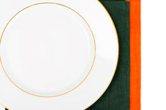 White Empry Plate on a Tablecloth with Place for Your Text Royalty Free Stock Image