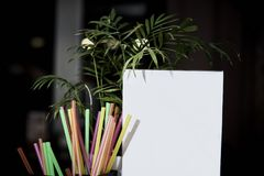 A white empty advertising medium stands on a table next to colorful bright straws and flower leaves. On a dark background with a bokeh Stock Images