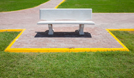 White empty bench in the park Stock Images