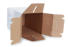 White empty box with handle Stock Photos
