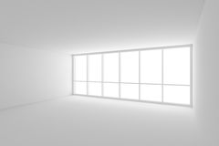 White empty business office room with large window. Business architecture white colorless office room interior - white empty business office room with white Royalty Free Stock Images