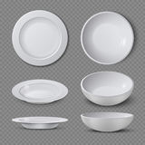 White empty ceramic plate in different points of view isolated vector illustration. Plate and dish clean for kitchen, porcelain dishware Stock Photography