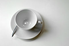 White empty coffee cup and spoon Stock Photo