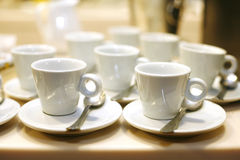 White empty coffee cups Royalty Free Stock Image