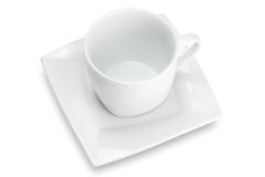 White empty cup with square saucer, top view Royalty Free Stock Photography