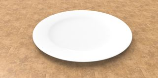 White empty dish plate on yellow table Stock Photo