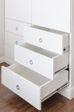 White empty drawer with round stainless handle Royalty Free Stock Photos