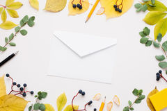 White empty envelope in autumn leaves frame. Paper cover on white background surrounded by yellow foliage and blueberry. Fall inspiration, good news, inbox royalty free stock photography