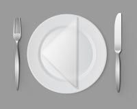White Empty Flat Round Plate Silver Fork Knife Napkin Stock Photos