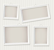 White empty frame. Set. White empty frame hanging on the wall. Vector illustration eps 10. Set Royalty Free Stock Photo