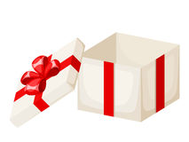 White empty gift box with red ribbon and bow. Vector illustration. Vector white empty gift box with red ribbon and bow isolated on a white background Stock Image