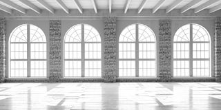 White empty hall in loft style. Royalty Free Stock Image