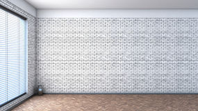 White empty interior with blinds and brick wall Stock Photos