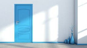 White empty interior with a blue door and vase Royalty Free Stock Image
