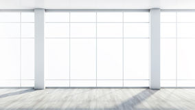 White empty interior with a large window.  Stock Photos