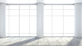 White empty interior with large window.  Stock Photography