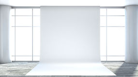 White empty interior with large window.  Stock Image