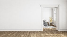 Free White Empty Interior With Blank Wall, Door And Bedroom. Stock Photography - 200958472