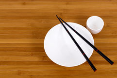 White empty japanese rice bowl and sake cup chopsticks Royalty Free Stock Photography