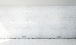 The white empty living room interior design and white brick wall background Royalty Free Stock Photos