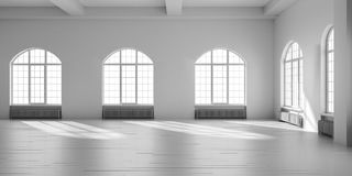 White empty loft interior. 3D render illustration Stock Photo
