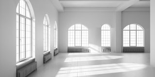 White empty loft interior. 3D render illustration Royalty Free Stock Image