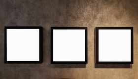 Three Empty Frame On The Shelf With Books.Blank Advertisement Banner Poster Mock Up Isolated Template Clipping Path stock image