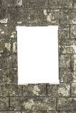 White empty placard. Taped on the wall Royalty Free Stock Photo