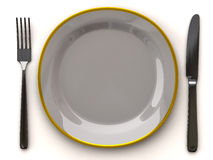 White empty plate with fork and knife. 3d illustration of white empty plate with fork and knife Royalty Free Stock Image