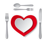 White and empty plates. In heart shape with fork, spoon and knife on a white background. Vector illustration Stock Photo