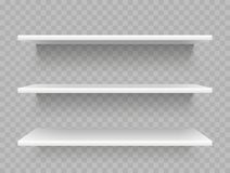 White empty product shelves. Supermarket display, promotional store shelf vector template. White empty product shelves. Supermarket display, promotional store royalty free illustration