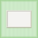 White Empty Ribbed Frame on Striped Wall Royalty Free Stock Images