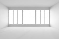 White empty room with big windows front view Stock Photo