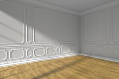White empty room corner with molding and parquet floor. White empty room corner interior with sunlight from window, white decorative classic style molding frames Stock Images