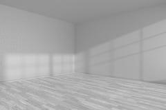 White empty room corner with white parquet floor Stock Photography
