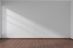 White empty room with dark parquet floor Stock Photo