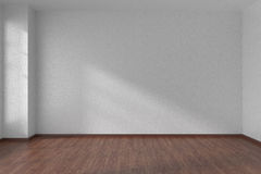 White empty room with dark parquet floor. Empty room with white walls and dark wooden parquet floor under sunlight through window, 3D illustration Royalty Free Stock Image