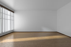White empty room with flat walls, parquet floor and window, 3D i Royalty Free Stock Image
