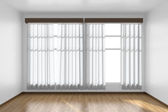White empty room with flat walls, parquet floor and window front Royalty Free Stock Images