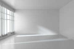 White empty room with flat walls, white floor and window, 3D ill. White empty room with white flat walls without textures, white parquet floor and window with Stock Photo