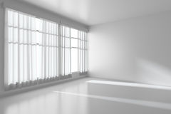 White empty room with flat walls, white floor and window diagona Royalty Free Stock Photography