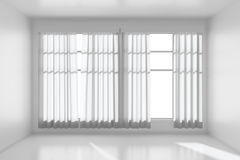 White empty room with flat walls, white floor and window front v Stock Images
