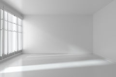 White empty room with flat walls, white floor and window Royalty Free Stock Images