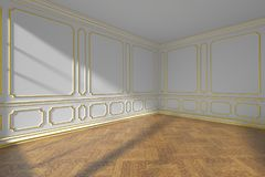 White empty room with gold molding and parquet, wide angle Stock Photos